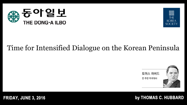 Time for Intensified Dialogue on the Korean Peninsula