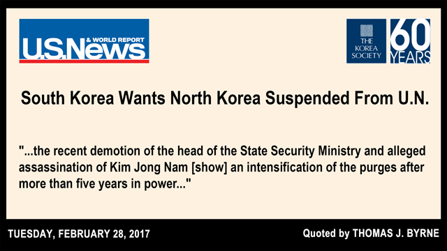 South Korea Wants North Korea Suspended From U.N.